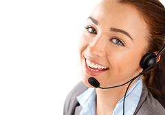 Woman customer service agent proffessional telephone worker Stock Photos