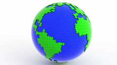 Rotating isolated globe (earth) from puzzle. Stock Footage