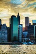 New york city skyscrapers at sunset Stock Photos