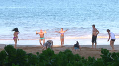 Finishing Group Workout at Beach Stock Footage