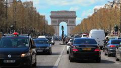 Paris, France - Champs-Elysees and Arc de Triomphe - 10 Street, Traffic, cars Stock Footage