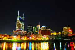 downtown nashville cityscape in the night - stock photo