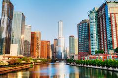 Chicago downtown with trump international hotel and tower in chicago, il in t Stock Photos