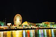 Stock Photo of navy pier in chicago at night time