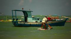 Men Fishing From A Boat In Brazil HD Video Stock Footage