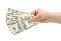 Woman hands with money Stock Photos
