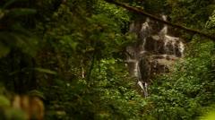 Waterfall Through Lush Green Trees In Costa Rica HD Video - stock footage