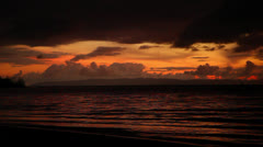Beach At Sunset With Orange Sky In Costa Rica HD Video Stock Footage
