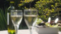 Glasses of wine in and out of focus Stock Footage