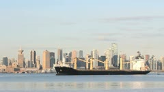 Freighter Anchoring, Burrard Inlet, Vancouver Stock Footage