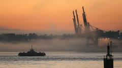 Misty Morning Commuter Ferry, Vancouver Harbor Stock Footage