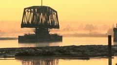Morning Rail Bridge, Misty River Stock Footage