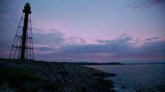 Marblehead lighthouse wide dusk Stock Footage