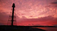Marblehead lighthouse sunset left Stock Footage