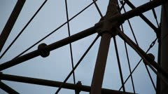 Marblehead lighthouse tilt structure close with airplane Stock Footage