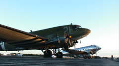 C-47 Skytrain parked 01 Stock Footage