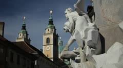 Robba fountain, Ljubljana Stock Footage