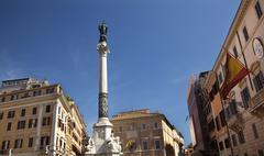 piazza mignanelli colonna dell immacoloata column spanish embassy roman stree - stock photo
