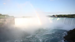 Niagara Falls Rainbow and Birds Stock Footage