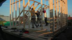 Stock Video Footage of Building of a Framework House