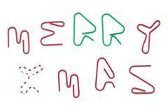 paper clip  merry xmas - stock photo