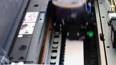 Computer printer head in action Stock Footage