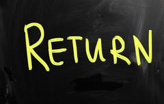 """return"" handwritten with white chalk on a blackboard - stock illustration"