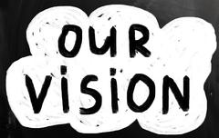 """our vision"" handwritten with white chalk on a blackboard Stock Illustration"