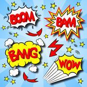 cartoon text explosions - stock illustration