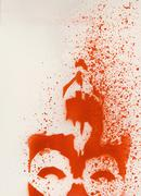 Stenciled, red painting spraypainted on a wall Stock Illustration