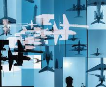 Collage of airplanes Stock Illustration