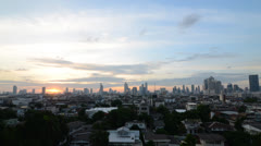 Sunset over the city view timelapse of Bangkok, Thailand Stock Footage