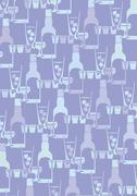 Illustrated pattern featuring bottles, cocktail glasses Stock Illustration
