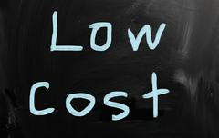 """low cost"" handwritten with white chalk on a blackboard Stock Illustration"