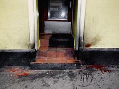 Blood splattered at the front of a building Kuvituskuvat