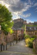 Edinburgh Castle from Heriot place, Edinburgh, Scotland, UK - stock photo
