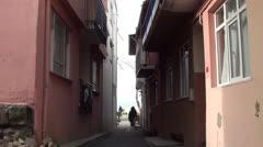 Narrow passage street Stock Footage
