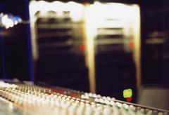 A mixing board in a recording studio Stock Photos