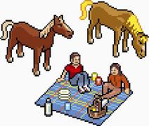 Two people having a picnic next to two horses Stock Illustration