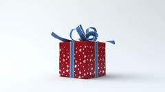 Red - silver star gift box with blue ribbon opening Stock Footage