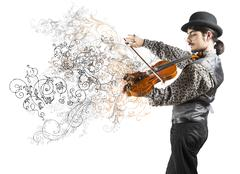 young violinist with vintage flower effect - stock photo