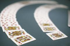 Playing cards spread out on a table, Las Vegas, Nevada, USA Stock Photos