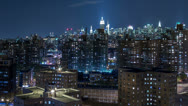 Stock Video Footage of Manhattan New York City NYC Night Timelapse Projects Lower East Side (panning)