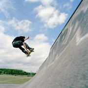 Skateboarder, mid-air Stock Photos