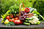Stock Photo of fresh organic vegetables in wicker basket in the garden