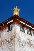 Tibetan temple roof decoration Stock Photos