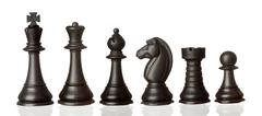 black chess pieces in order of decreasing - stock photo