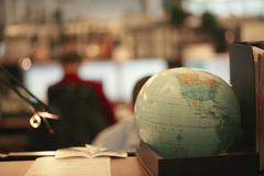 Close-up of desktop globe Stock Photos