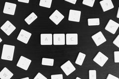 Computer keys A, B and C in alphabetical order - stock photo