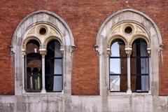 brown and window reflex in milan - stock photo